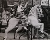 Little Girl Carousel Horse Vintage Photo Put-in-Bay, Ohio 1955
