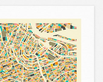AMSTERDAM MAP (Giclée Fine Art Print, Photographic Print or Poster Print) by Jazzberry Blue