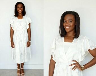 1970s White Midi Dress