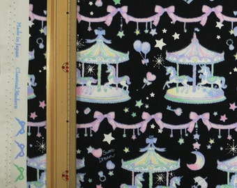 Classical and Modern Japanese Fabric  / Merry Go Round Oxford Fabric Black - 50cm x 110cm
