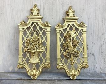 Floral Gold Panels - Hollywood Regency - Retro Dart Plastic 7212, 7213