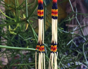 Hand beaded native peyote stitch and porcupine quill long earrings