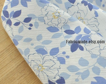 Floral Fabric, White Flower Purple Blue Leaves On Wrinkle White Cotton  - 1/2 yard