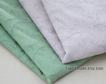 Grey Green Netting Lace Fabric Embroidery Flower Tulle Lace Fabric Grey Lining Fabric- 1/2 yard