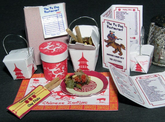 China fast food, paper minis, DIY kit from paper in miniature for the Doll House, Doll House, dollhouse miniatures # 40034