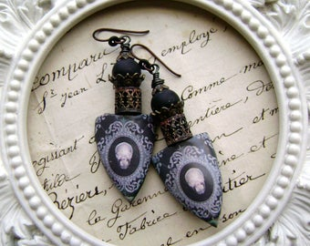 Queen of Lace Gothic assemblage earrings, mixed media earrings, black lace skull earrings, scorched earth, unique earrings, AnvilArtifacts