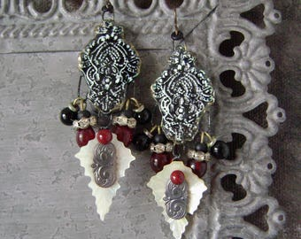 Gothic mop rhinestone antique style assemblage earring, mop jewelry, red black, stamping, baroque, Dark Romance, mop jewelry, AnvilArtifacts
