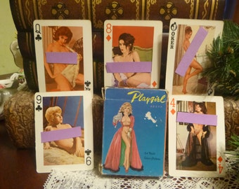 Vintage Risque Nudie Girl Playing Cards, 1960s Playgirl Nude Ladies Playing Cards    (T)