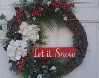 Christmas Wreath, White Hydrandgea, Red Berries, Let it Snow Sign, Christmas Pine with Snow wreath, Winter Wreath