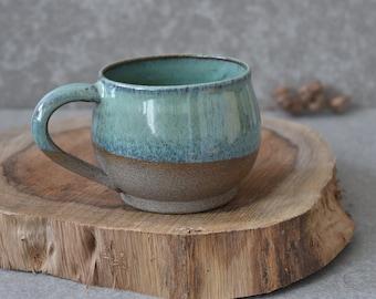 READY TO SHIP -Rustic Ceramic mug set, Large Green pottery mug set, Ceramic Coffee mug, Stoneware Coffee lovers gift, Pottery Tea / Soup Mug