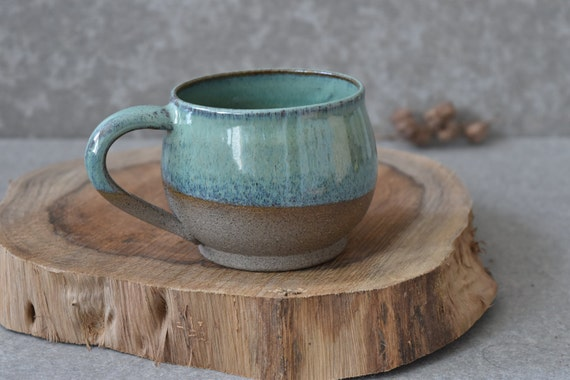 Rustic Ceramic Mug Set Large Green Pottery Mug Set Ceramic