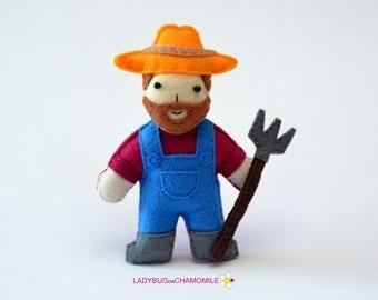 Felt FARMER, stuffed felt Farmer magnet or ornament, Farmer toy,People,Professions,Farmer magnet,Nursery decor,Farmer doll,Farmer, Felt Doll