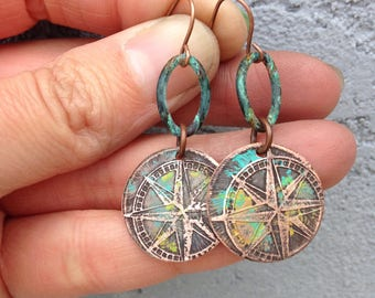Etched copper compass earrings