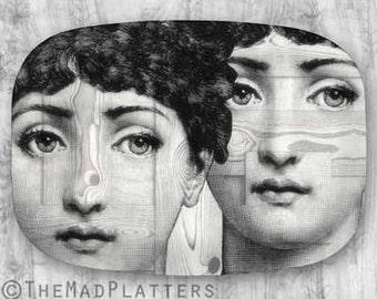 Wood grain (faux) Lina Cavalieri melamine plate or platter