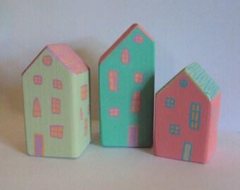 Set of 3 Miniature Houses - Tiny Pastel Folk Cottages - Little Wooden Village Figurines - Decorative Wood Houses - Handpainted Mantel Decor