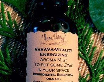 VaVaVa Vitality Aroma Mist in 2oz glass amber bottle