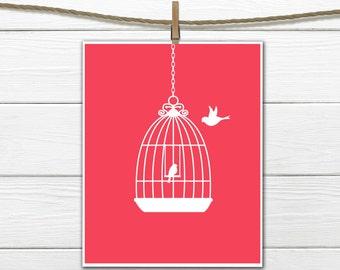 Bird and Bird Cage Print - Nursery Wall Decor - Custom Colors - Bathroom Decor
