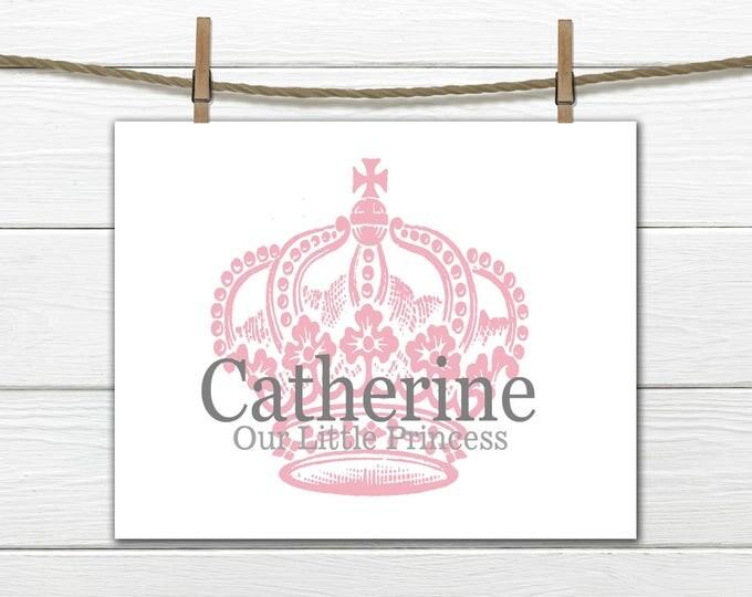 Baby Girl Name Print Crown Print- Our little Princess Print