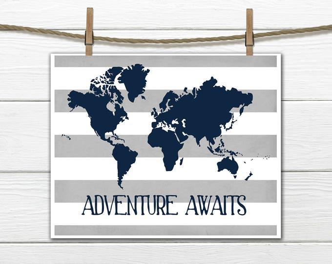 World Map Print - Nursery Wall Decor - Distressed Striped Background -  Custom Colors