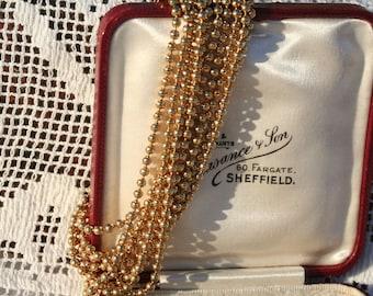1960s/70s Gold Tone Ten Strands Golden Beaded Bracelet Just Stunning