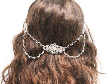 Rhinestone Wedding hair jewelry,Bohemian Bridal hair piece,Boho Wedding hair piece,Wedding hair accessories,Crystal Wedding hair chain,clip