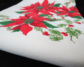 Vintage Christmas Tablecloth - Poinsettia Holly Tablecloth - Large Christmas Tablecloth - Holiday Tablecloth - Free Shipping - 4MTT17