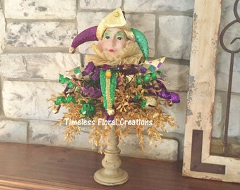 Mardi Gras Jester Candlestick Topper~Arrangment~Holiday Decorating~Timeless Floral Creations