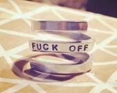 Fuck off / fuck you / badass/ statement dainty triple spiral aluminium   ring