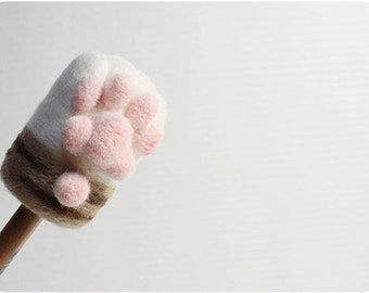Cat Paw - brown tabby white, needle felted wool Pencil Cap