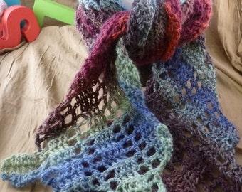 ON SALE Multicolor Window Pane Crochet Scarf