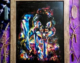 Blue Wolf Spirit Animal Framed Art Print-  Rainbow Crystal Painting for Self Truth, Empowerment, Transformation