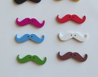 Set of 8 wooden mustache Buttons Multi colours