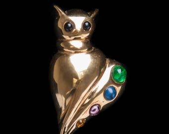 Abstract Sterling Silver Venetian Italian Cat Brooch SIgned Gold Plated