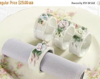 On Sale Vintage Porcelain Flowers Napkin Rings, Set of 4, Tea Parties, Cottage Style, Wedding, Romantic French Farmhouse