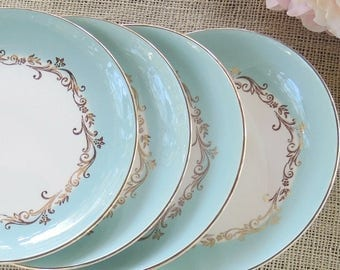 Homer Laughlin Lifetime China Co. Dessert Plates Set of 4 Gold Crown Plates Housewarming Gift