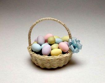 1/12 scale handmade dollhouse miniature Easter eggs basket