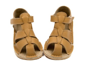 Ocher Toddler Leather Sandals, Vibram sole, support barefoot walking, sizes EU 16 to 24 - US 2 to 7.5
