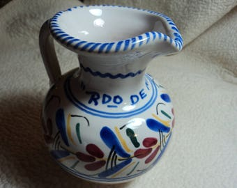 Handmade and hand painted pitcher from Spain
