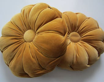 Vintage Matching Pair of Mid Century Round Sofa Throw Pillows - Tufted - 1960's Retro Gold Cushions
