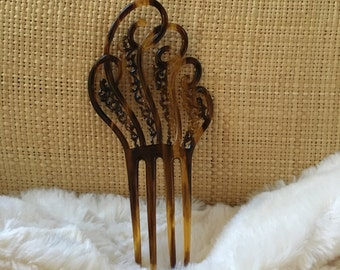 Beautiful Victorian Style Faux Tortoise Shell Hair Comb