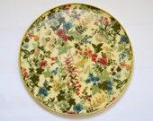 Large Vintage Floral Circular Serving Tray