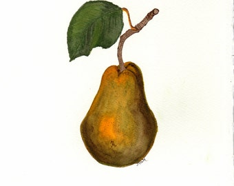 "Watercolor painting, ""Pear"", print, matted, backed, ready for framing"