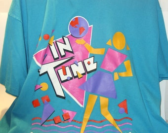 Girl Scout 1990's Cookie Program Award T- Shirt Vintage Retro IN TUNE Abstract Size XL