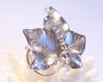 Carl Art Sterling Silver Vintage Leaf Pendant Brooch