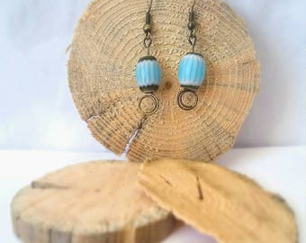 Antiqued Brass & Blue Earrings