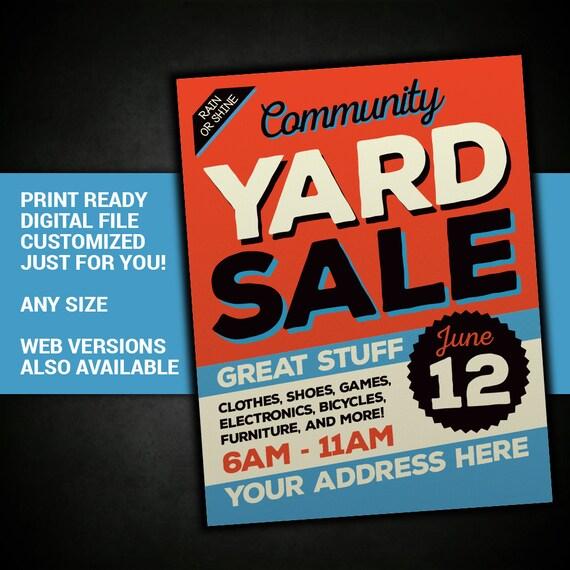 yard sale garage sale tag sale sign community sale