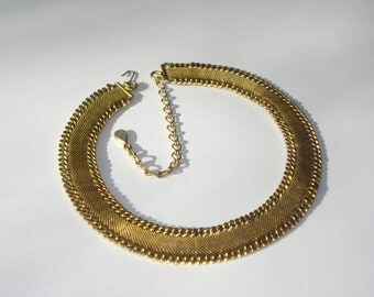 Thick Gold Brass Tone Necklace - Fashion Jewellery - Antiqued Gold Tone  -1960s