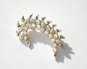 Aurora Borealis Brooch - Gold Tone - Vintage Costume Jewelry Pin - Retro Sparkle Crystal Curl