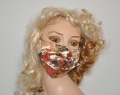 Flu mask, Oriental brocade, beige and red, Face mask, designer face mask, Stylish face mask