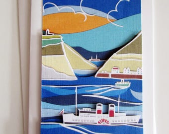 Papercut art paddle steamer the Waverly greetings card